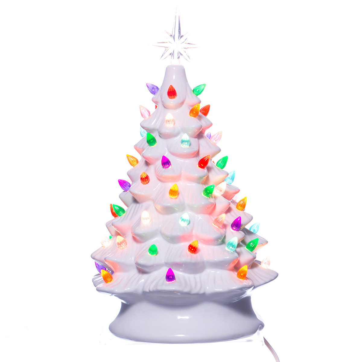 White Ceramic Christmas Tree w/ Lights Boxed