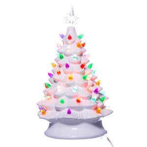 White Ceramic Christmas Tree w/ Lights