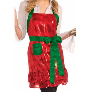Sequin Christmas Apron Closeup