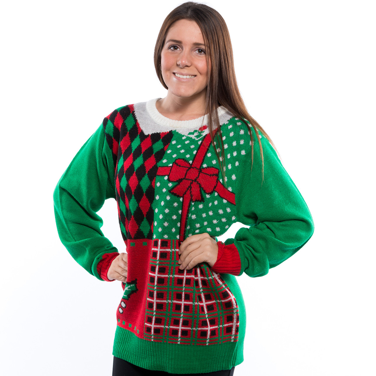 Plaid Ugly Christmas Sweater