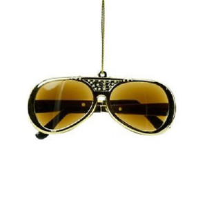 Elvis Presley Gold Sunglasses Christmas Ornament