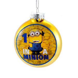 "Despicable Me ""1 in a Minion"" Glass Christmas Tree Ornament"
