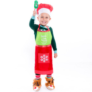 Kids Christmas Baking Apron and Hat Set