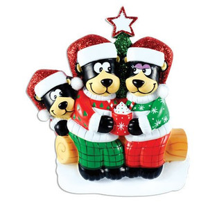 Black Bear Family with Hot Chocolate Personalized Ornaments Family of 3