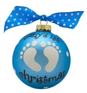 Baby Boy Personalized Glass Ball Ornament