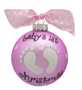 Baby Girl Personalized Glass Ball Ornament