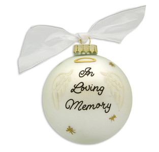 Angel Wings Personalized Glass Ball Ornament - In Loving Memory