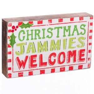 Christmas Jammies Welcome Wooden Christmas Sign