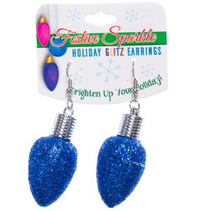 Christmas Bulb Earrings Blue