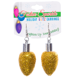 Christmas Light Bulb Earrings Gold