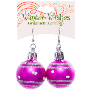 Pink Christmas Ornaments Earrings