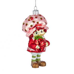 Strawberry Shortcake Glass Christmas Ornament