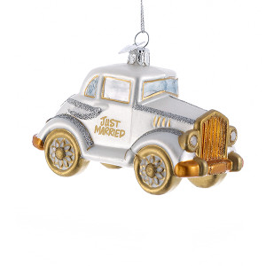 Wedding Car Glass Ornament