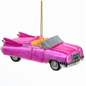 Retro Pink Roadster Glass Ornament