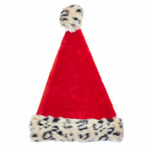 Santa Hat with Leopard Trim