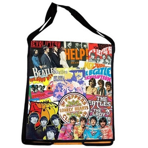Beatles - Recycled Messenger Tote - front