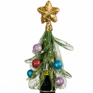 Christmas Tree Wine Bottle Topper gold