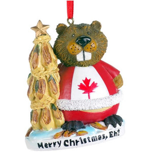 """Merry Christmas, eh?"" Beaver Ornament"