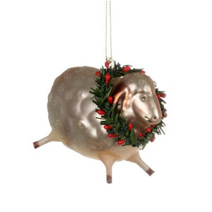 Barnyard Sheep Glass Ornament