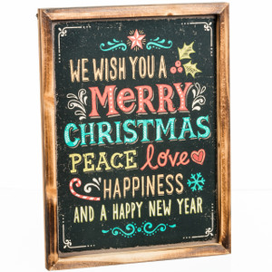 Wish You a Merry Christmas Chalk Board Sign