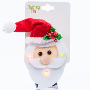Flashing Holiday Brooch - santa