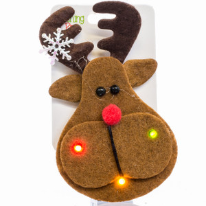 Flashing Holiday Brooch - reindeer