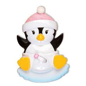 Baby Girl Penguin Personalized Ornament