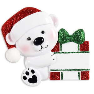Baby Bear with Present Personalized Ornament