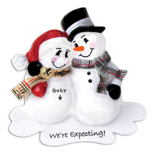 We're Expecting Snowman Personalized Ornament
