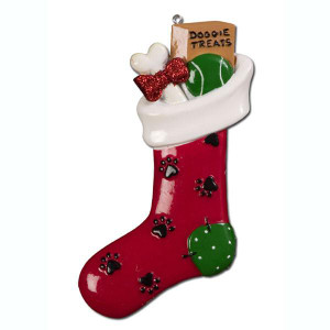 Doggy Stocking Personalized Ornament