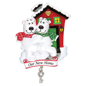 Polar Bear House Family of 2 Personalized Christmas Ornament