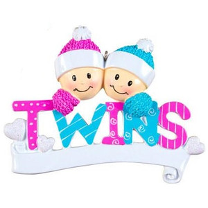 Twins Personalized Ornament - 1B 1G