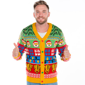 Retro Holly & Turkey Christmas Cardigan UK Import