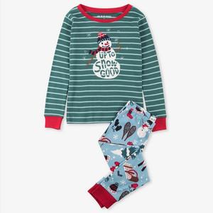 Blue Vintage Holiday Kids Christmas Pajamas