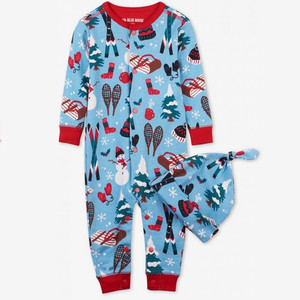 Vintage Holiday Christmas Infant Romper - blue