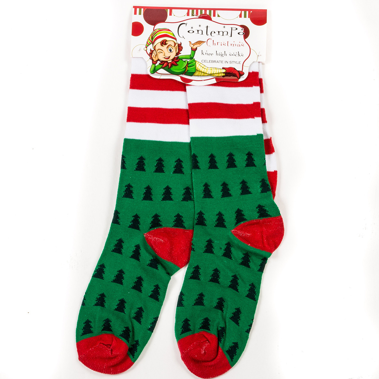 Mini Christmas Trees and Red & White Striped Ladies Knee High ...