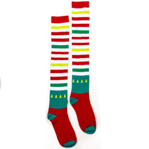 Green and red striped knee high socks