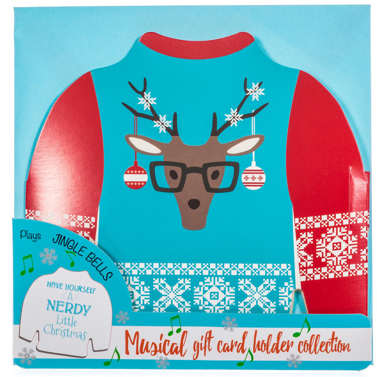 Ugly christmas sweater musical gift card holder retrofestive musical gift card holder reindeer with glasses solutioingenieria Choice Image