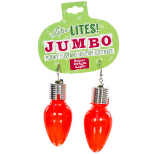 Lotsa Lites Jumbo Flashing Bulb Earrings - red