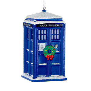 Doctor Who Light Up LED Tardis Ornament with Wreath