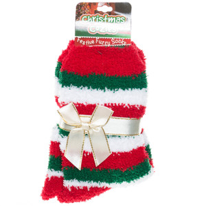 Green, red and white striped cozies socks