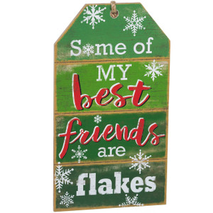 Festive Hanging Tag Sign - flakes
