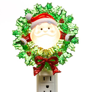 Santa in a Wreath Night Light lit