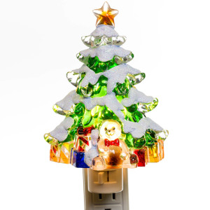 snowy christmas tree night light lit - Christmas Tree Night Light