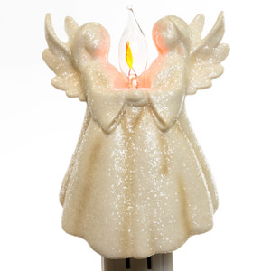 Flickering Twin Angels Night Light lit