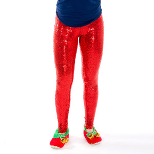 Festive Sequin Leggings - red front