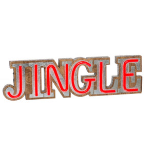 Lighted Faux Neon JINGLE Sign lit