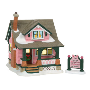 Aunt Clara's Pink Bunny House A Christmas Story Village Department 56
