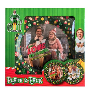 "Elf the Movie I Know Him and Love To Smile 11"" Plates Boxed View"