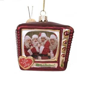 I Love Lucy Santas Glass TV Ornament